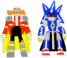 SuperTime-Earth Eggman and Metal Sonic by jacobyel