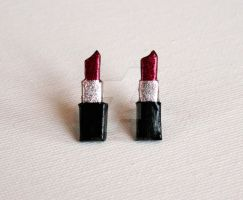 Red Lipstick Tube Earrings by youngclerks