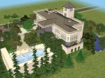 Sims 2 White Hillside Mansion by RamboRocky