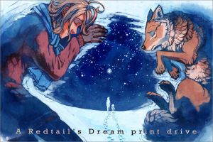 Napping in the Snow - print drive banner by MinnaSundberg