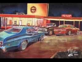 Duster At The 'Dubya (Painting) by FastLaneIllustration