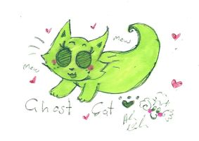 Little Green Ghost Cat by Kittychan2005