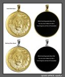 Gold Lion Head Coin in Precious Metal Bezel by GoodSpiritWolf
