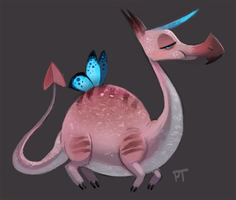 DAY 422. Some goddamn flamingo unicorn dragon by Cryptid-Creations