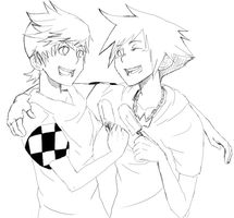 Roxas and Sora lines by pamellka