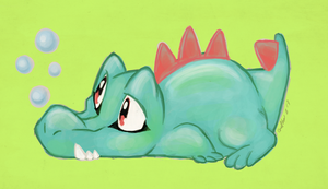 warm-up sketch - totodile by Grethe--B