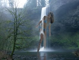 Jess Showers in South Silver Falls by Accasbel