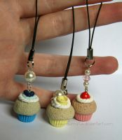 Clay Cupcake Phone Charms :D by RawrRufus