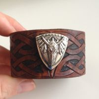 Tooled Leather Dragon Cuff (front view) by lbaker22