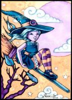 Little Witch on Broom ACEO by candcfantasyart