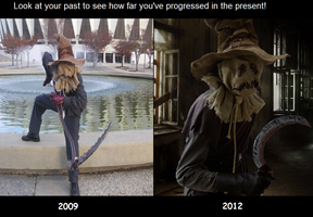 Scarecrow Cosplay Then and Now by GothamScarecrow