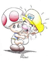 Toad and Baby Wario by cmsimeon589