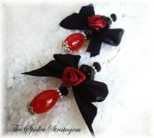 Gothic earrings 'Bloody rose' by TheSpiderStratagem