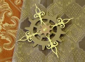 Fleur de Gear- Steampunk Yule Cog Ornament by pervyyaoifancier