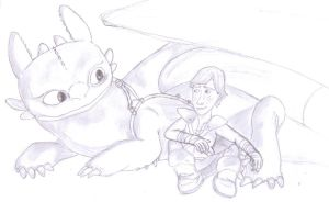 Toothless and Hiccup by Lardon-Draconis