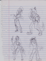 Fighting pose Sketches by Cobean