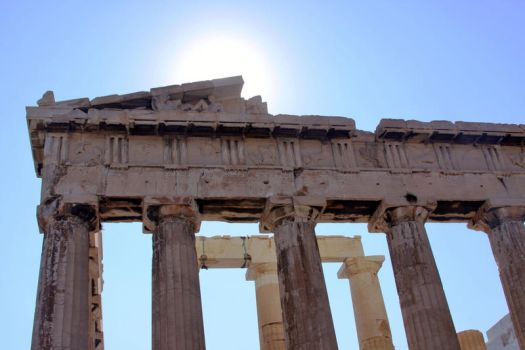 Sun and Parthenon by humminggirl