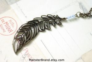 Vintage Feather Necklace by MonsterBrandCrafts