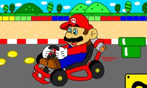 Mario at SNES Mario Circuit 1 by MarioSimpson1