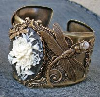 Dragonflies and Flowers cuff by Aranwen