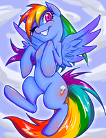 Rainbow dash in the sky by KyotoxArt