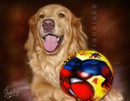 My Golden Retriever Hand-Painted Digital Portrait by shierly85