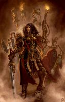 Ordo Hereticus Inquisitor with retinue by Vanagandr