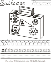 Mommysbiz | S-Suitcase-Brown Preschool Worksheet by DanaHaynes