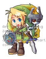 AE Chibi- Link and Midna by BettyKwong