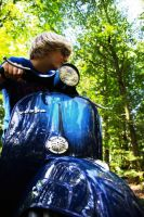 Vespa Driver in the forest by Technoruebe