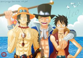 Ace Sabo Luffy Fan art by hisui1986