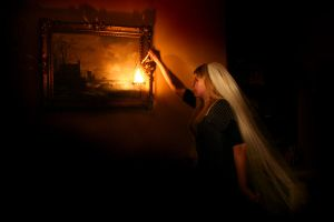 Woman with lamp and veil by markbrmb