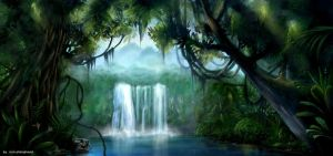 water fall by pirsion