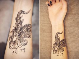 Koi fish fake tattoo by SymbolicArt95