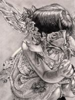 Faerie Rose Pencil Portrait by DragonPress