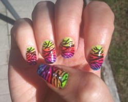 Rainbow Tiger Nail Art by Lucia-Chan