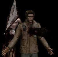 Pyramid Head stabs Alex by drakl0r