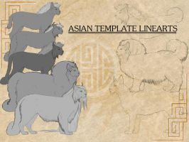 Asian Shedu Lineart template by Templado
