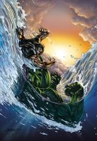 Hulk Vs Namor cover by DAVID-OCAMPO