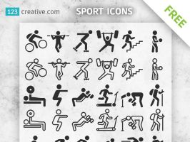 FREE Sport icons silhouettes for download by 123creative