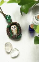 Barn Owl Necklace by Lavenderwitch
