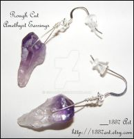 Rough Cut Amethyst Earrings by 1337-Art