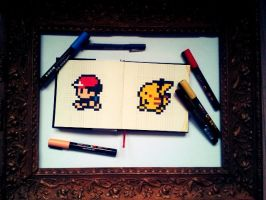 Pixeled Pikatchu and trainer by WonderKaa