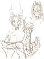 Dragoness doodles by moonfeather