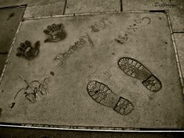 Johnny Depp's foot and hand prints by Depporgeus