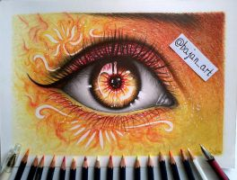 Fire eye drawing by Bajan-Art