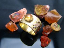 14K Fire Opal Ring by jessa1155