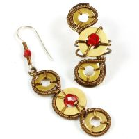 Red Glass and Brass Ear Cuff set by sylva