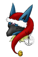 Lucario Pink Star Christmas by BankaiAngel