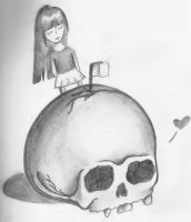 Skull and Girl by Something-Maybe